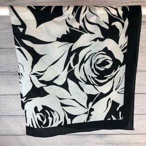 Black & White Floral Scarf
